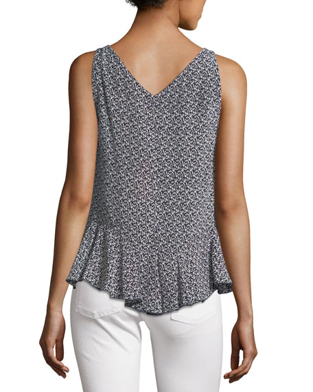 Sleeveless Static Printed Silk Tank