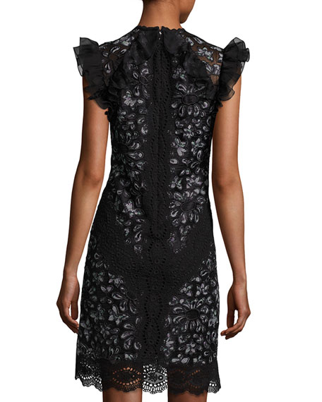 High-Neck Sleeveless Ruffled-Trim Lace Mini Dress