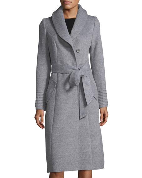 Baby Alpaca Belted Long Coat w/ Fur Collar