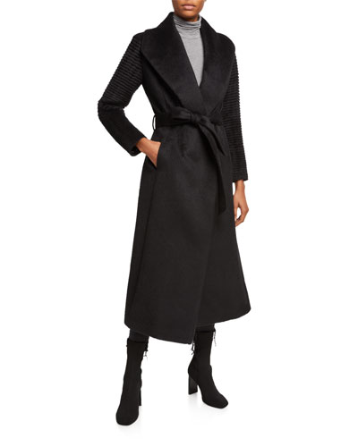 Suri Alpaca Long Wrap Coat w/ Ribbed Sleeves