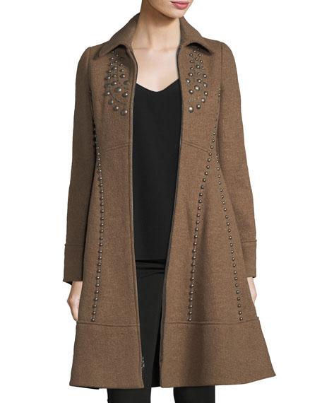 Grace Studded Zip-Front Wool Pea Coat
