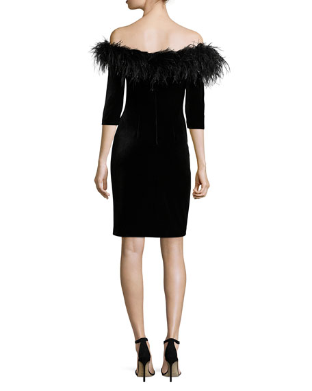 3/4-Sleeve Feather-Trim Off-the-Shoulder Velvet Cocktail Dress