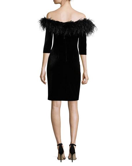 3/4-Sleeve Feather-Trim Off-the-Shoulder Velvet Cocktail Dress