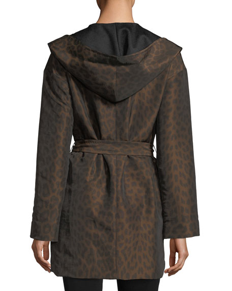 Image 2 of 5: Mycra Pac Hooded Reversible Animal-Print Wrap Coat