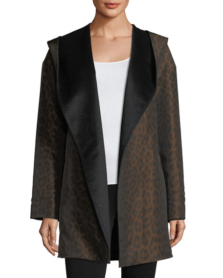 Image 4 of 5: Mycra Pac Hooded Reversible Animal-Print Wrap Coat