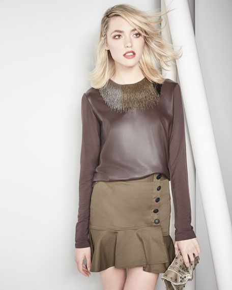 Long-Sleeve Leather-Front Crewneck Top
