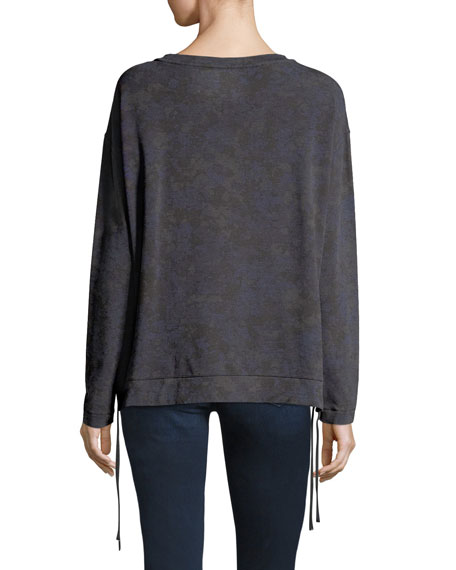 Camo Lace-Up Side Sweatshirt