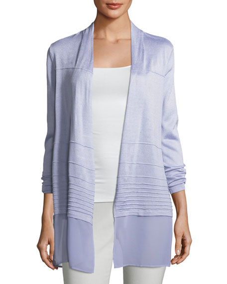 Chiffon-Trim Textured Cardigan