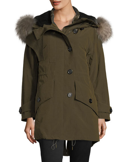 Burberry Ramsford 3-in-1 Parka Jacket w/ Down Warmer