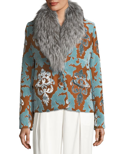 Daise Velvet Damask Devoré Jacket w/ Fur Trim