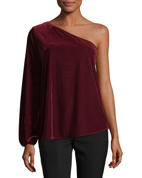 Ramy Brook One-Shoulder Velvet Top