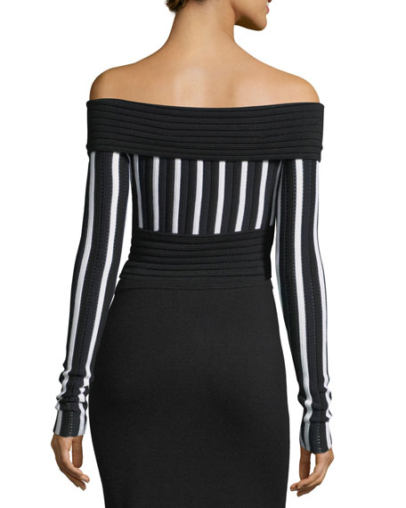 Long-Sleeve Off-the-Shoulder Knit Top
