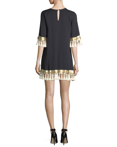 Shimmy Shimmy Tassel-Trimmed Silk Chiffon Cocktail Dress