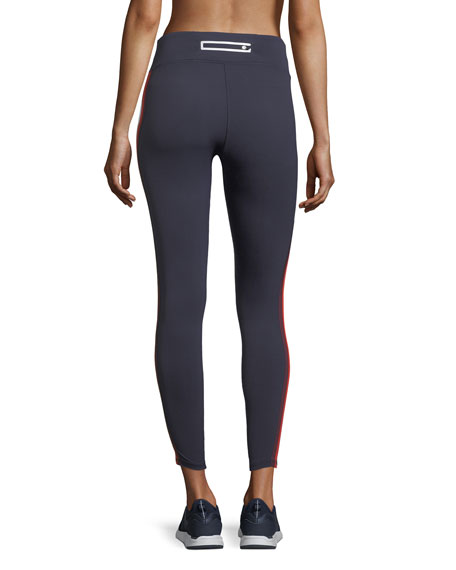 Multicolor Mid-Rise Side-Stripe Performance Leggings