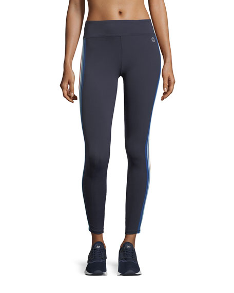 Tory Sport Multicolor Mid-Rise Side-Stripe Performance Leggings