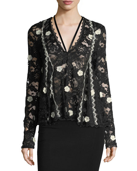 Alexis Cyndi V-Neck Semisheer Lace Top