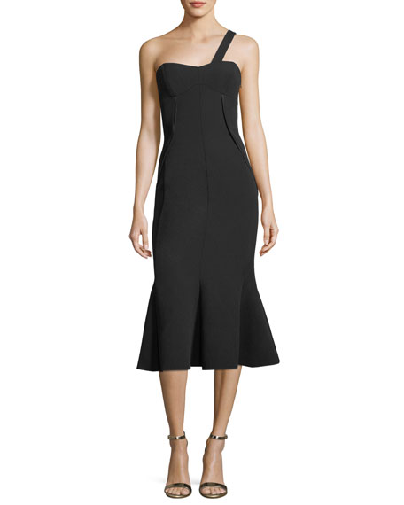 Camilla & Marc Celia One-Shoulder Trumpet Midi Cocktail