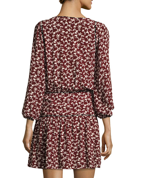 Catarina Split-Neck Printed Dress