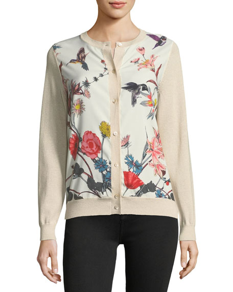 Neiman Marcus Cashmere Collection Floral-Print Silk-Panel Cardigan