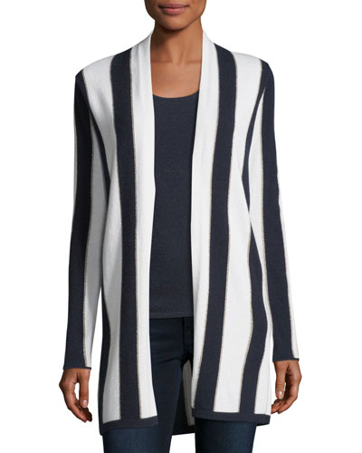 Cashmere-Blend Metallic Stripe Open-Front Cardigan