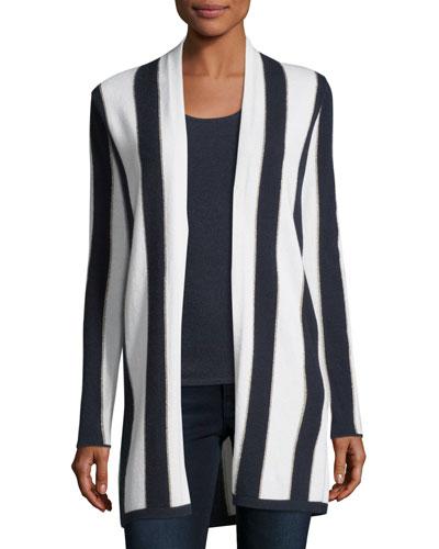 Cashmere-Blend Metallic Stripe Open-Front Cardigan