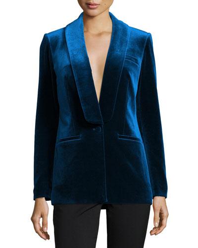 Single Breasted Velvet Tailored Jacket