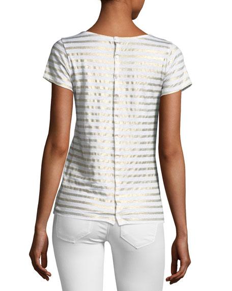 Linen Metallic Striped Short-Sleeve Button-Back Tee
