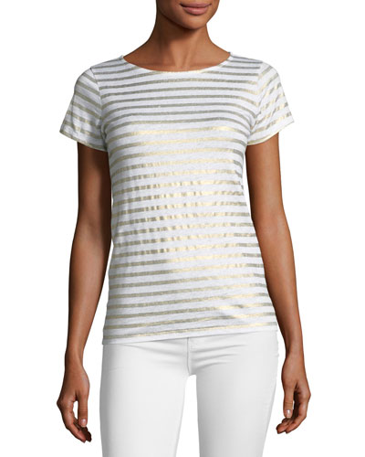 Linen Metallic Striped Short-Sleeve Button-Back Tee