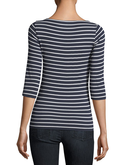 3/4-Sleeve Soft-Touch Striped Top