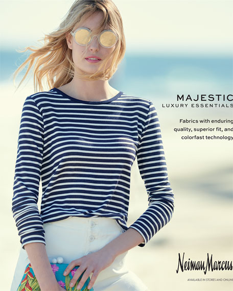 Long-Sleeve Striped French Terry Boat-Neck Tee