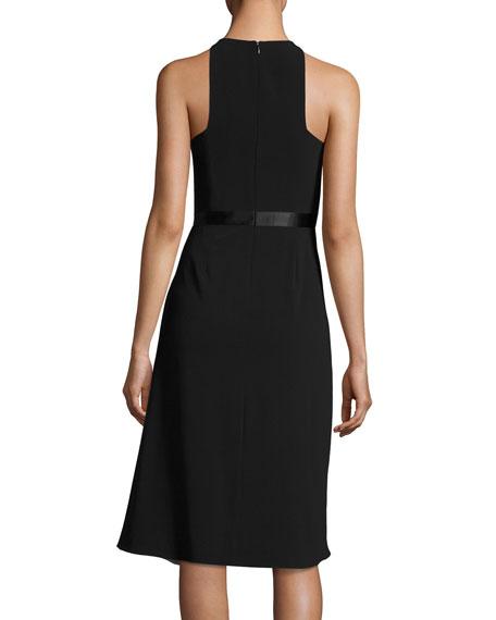 High-Neck Flowy Skirt Cocktail Dress