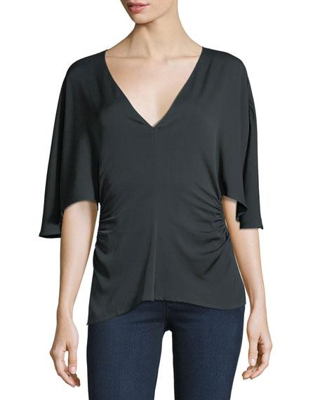Flounce-Sleeve V-Neck Silk-Blend Top