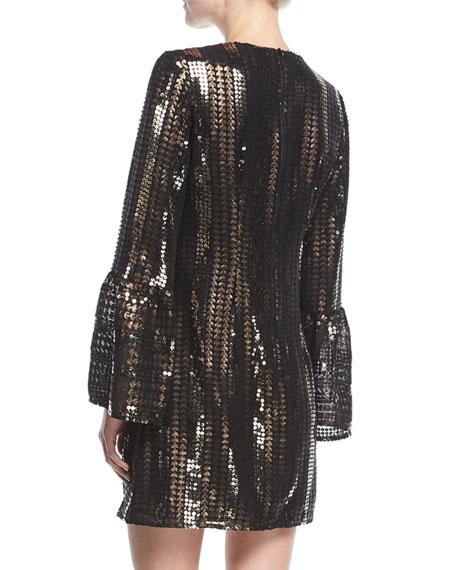 Lady Marmalade V-Neck A-Line Sequined Mini Cocktail Dress