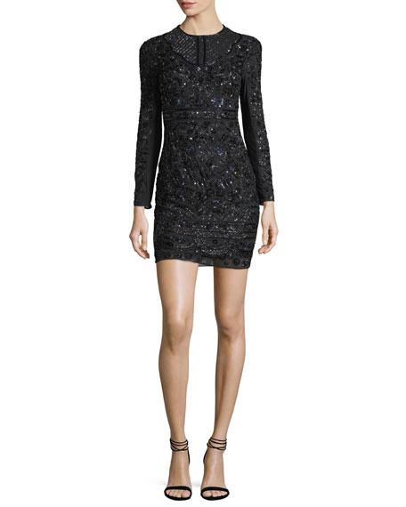 Midnight Lace Cocktail Dress W/ Embellishments