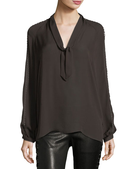Phoenix Rise Button-Front Silk Top