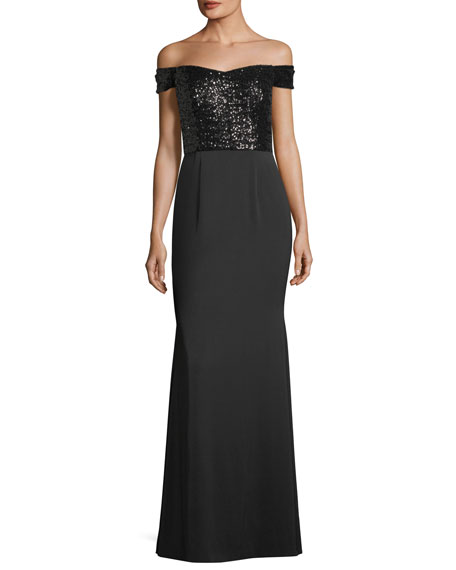Aidan Mattox Off-the-Shoulder Sequined-Bodice Evening Gown