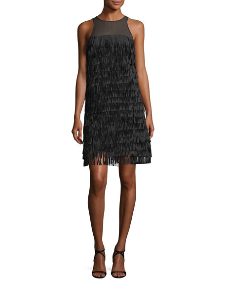 Aidan by Aidan Mattox Sleeveless Fringed Illusion Cocktail