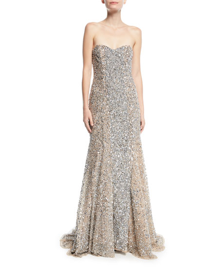 Renee Strapless Sweetheart Beaded Gown