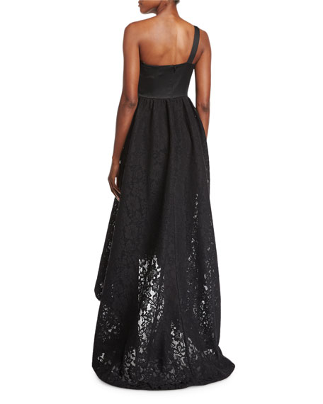 Image 2 of 2: Roberta One-Shoulder Lace Evening Gown