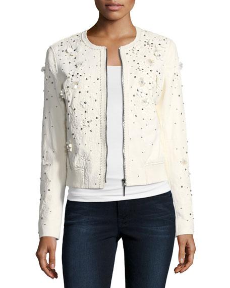 Elie Tahari Glenna Studded Flower Applique Leather Jacket