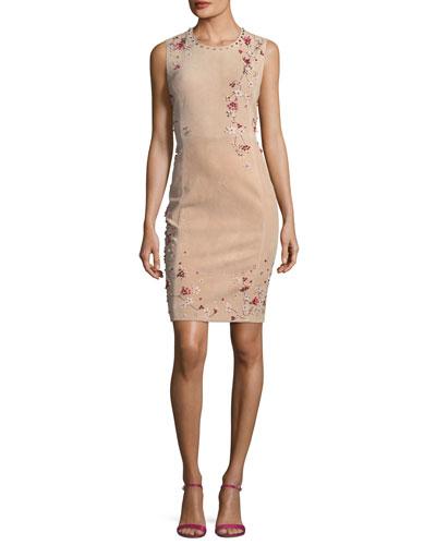 Emily Sleeveless Suede Floral Applique Dress