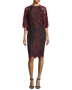 552d6c1d Badgley Mischka Collection High-Neck Lace Flutter-Sleeve Sheath Dress