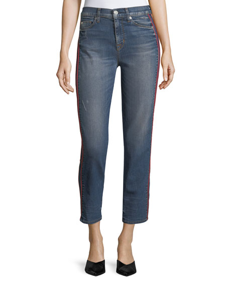 Hudson Zoey High-Rise Ankle Straight-Leg Jeans w/ Side