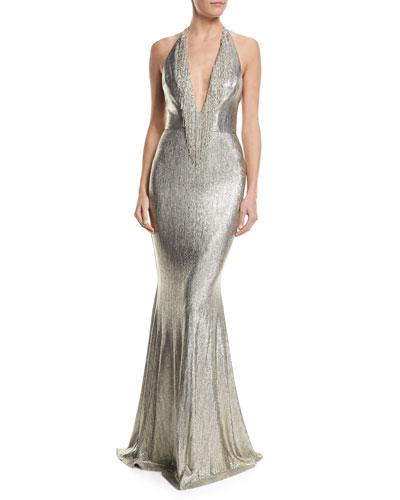 Plunging Halter Fringed Metallic Mermaid Evening Gown