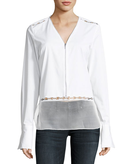 Elie Tahari Jaye Long-Sleeve Zip-Front Blouse