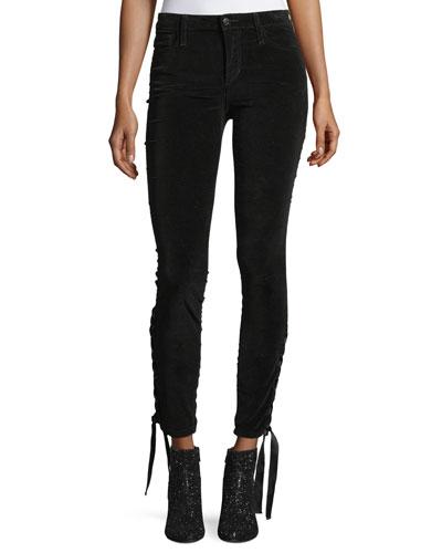 The Icon Ankle Mid-Rise Velvet Pants w/ Lace-Up Hem