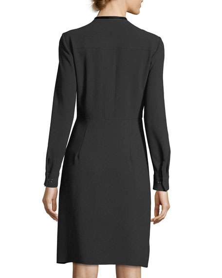 Avrielle Long-Sleeve Faux-Wrap Crepe Dress