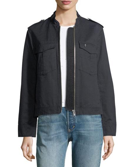 Kavy Zip-Front Long-Sleeve Woven Jacket