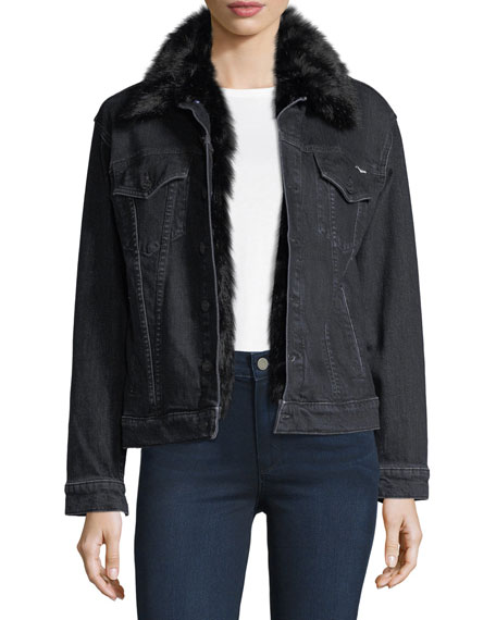 Mother Furry Drifter Denim Jacket w/ Faux Fur