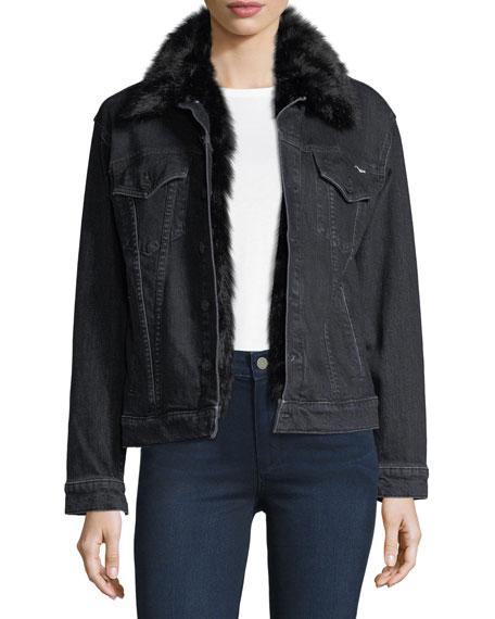 Mother Furry Drifter Denim Jacket w/ Faux Fur